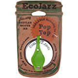 Ecojarz: Small-Mouth Pop-top Sealable Drinking Jar Lid! Stainless Steel and Silicone. Non-plastic (Lime Green)