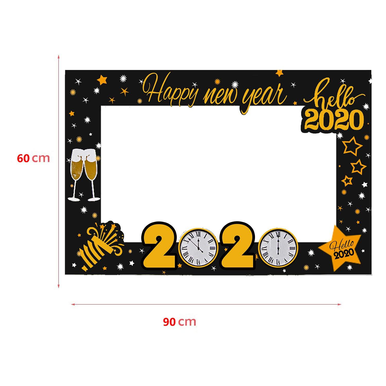 Sayala 2020 Capodanno Photo Booth Props Kit Puntelli Divertenti per Capodanno con Bastoncini di bamb/ù Glitter Photo Booth Puntelli per Capodanno Decorazioni per Feste