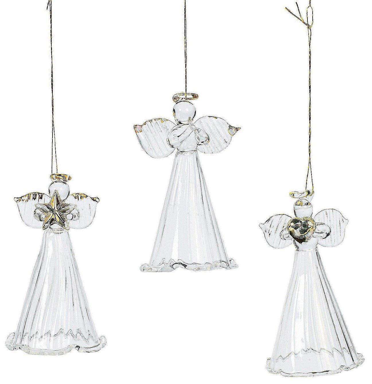 One Dozen Spun Glass Angel Ornaments/CHRISTMAS Tree Ornaments