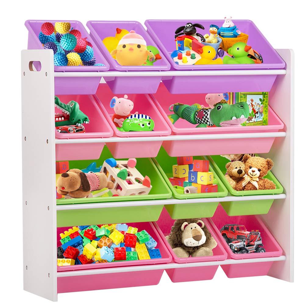 Kids Toy Storage Organizer with Plastic Bins, Storage Box Shelf Drawer