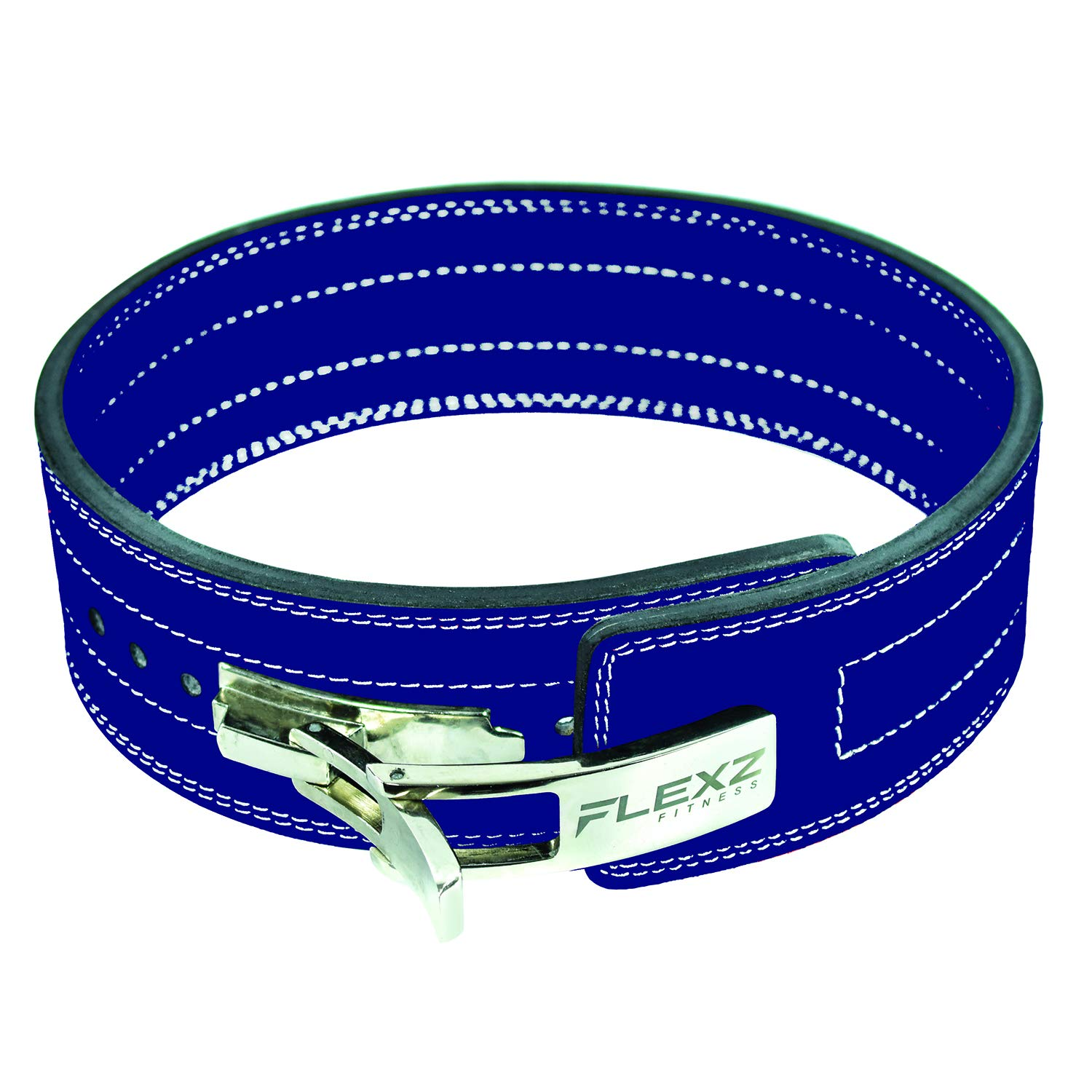 Flexz Fitness Lever Buckle Powerlifting Belt 10mm Weight Lifting Blue Small