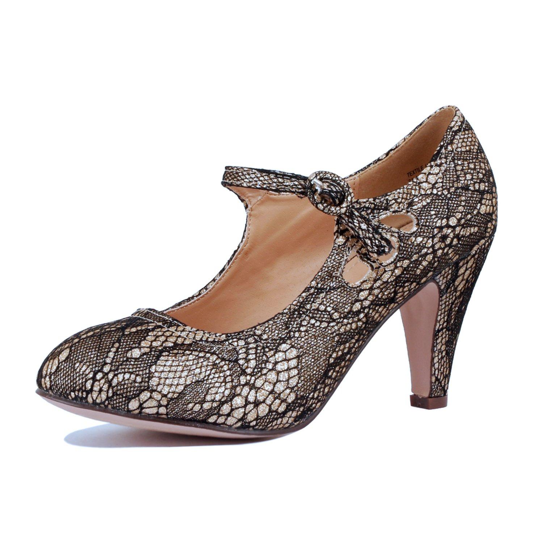 Guilty Heart   Womens Mary Jane Closed Toe Shoe   Mid Heel Retro Dressy Pumps