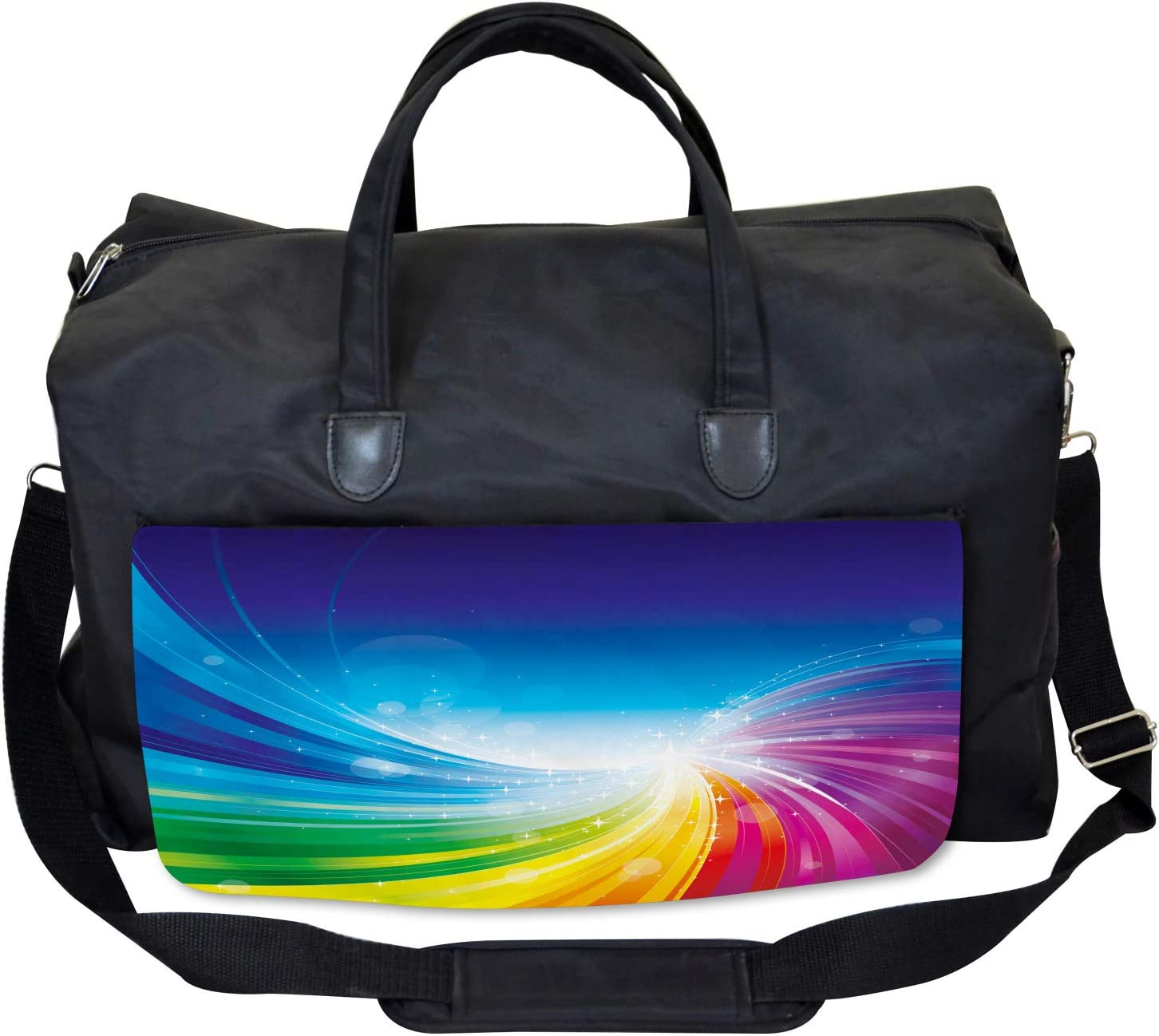 Large Weekender Carry-on Wavy Funky Pop Art Ambesonne Colorful Gym Bag