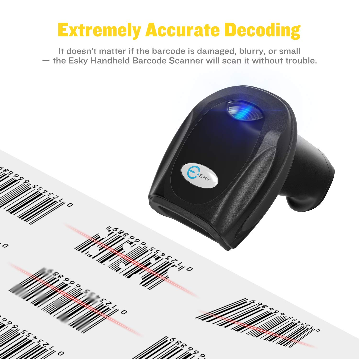 Esky 433MHz Wireless Barcode Scanner 328 Ft Transmission Distance USB Cordless 1D Laser Automatic Barcode Reader Handheld Barcode Scanner with Quick Charge Base for Shop, Store, Supermarket, Warehouse by Esky (Image #6)