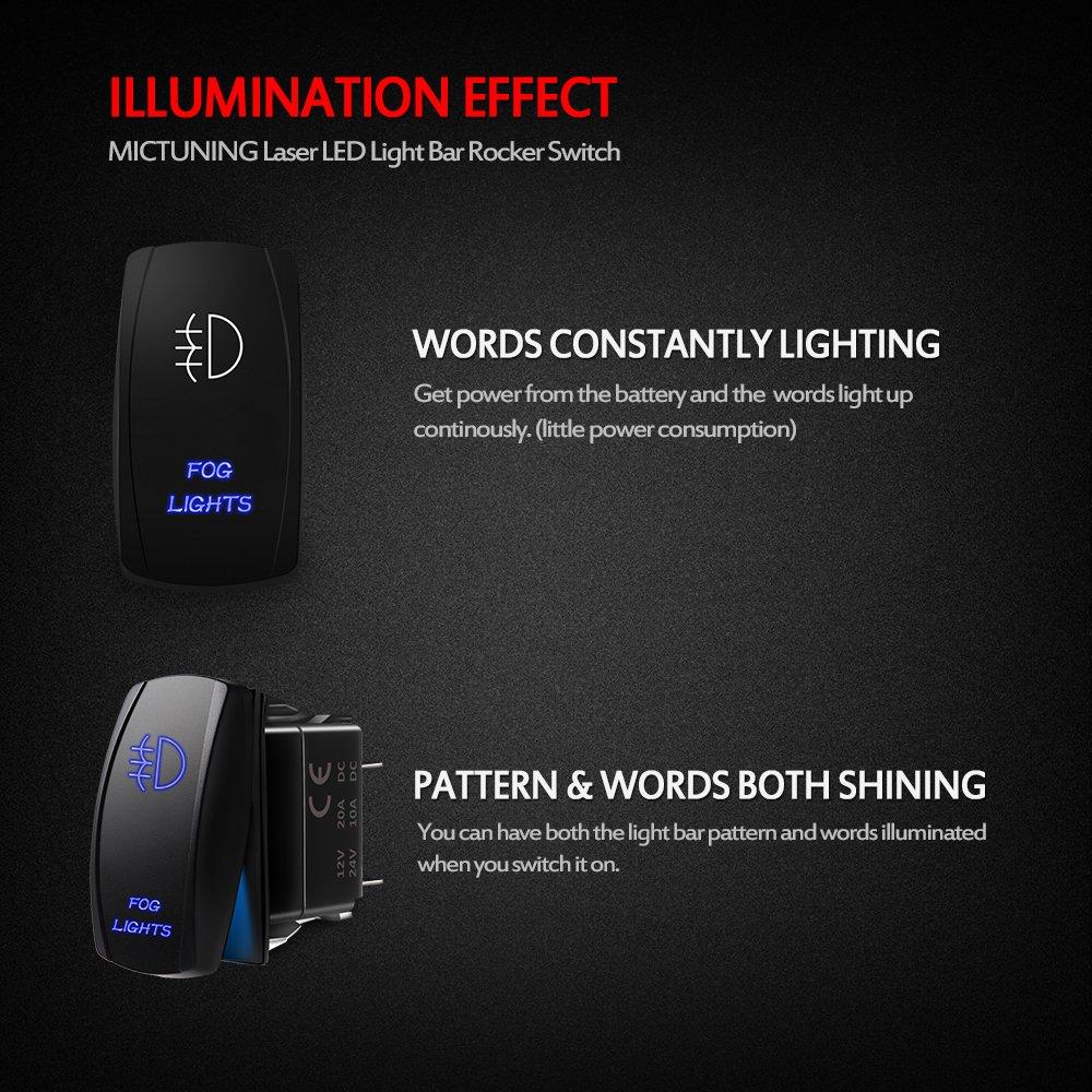 Mictuning Ls081602jl Backlit Fog Lights Rocker Switch Illuminated Wiring Diagram Light Kit On Off Led 20a 12v Toggle Blue Automotive