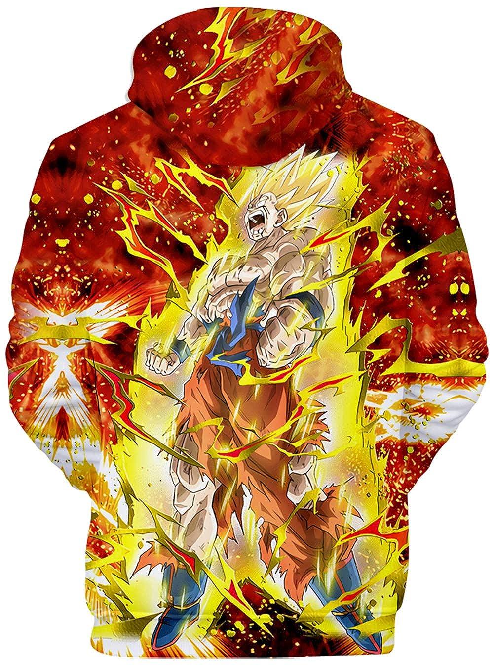 YIMIAO Unisexe Anime Dragon Ball Sweat-Shirt /à Capuche Super Pull 3D Manches Longues Sweat Goku