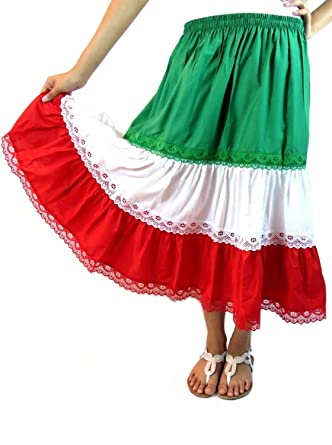 32af667ba Mexican Skirt 3 Colors (One Size, Red White Green) at Amazon Women's  Clothing store: