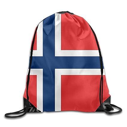 HAWOHT Drawstring Bandera de Noruega Cool Gimnasio con cordón Bolsas Mochila de Viaje Mochila Escolar