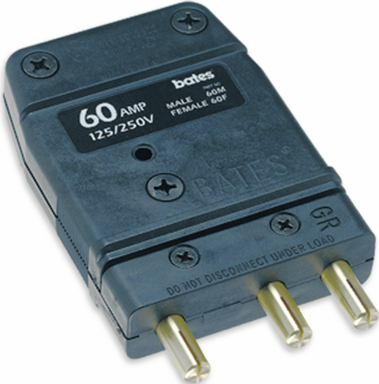 Male Inline Marinco Power Products Marinco 60M Bates Stage Pin 60 Amp,125 Volt