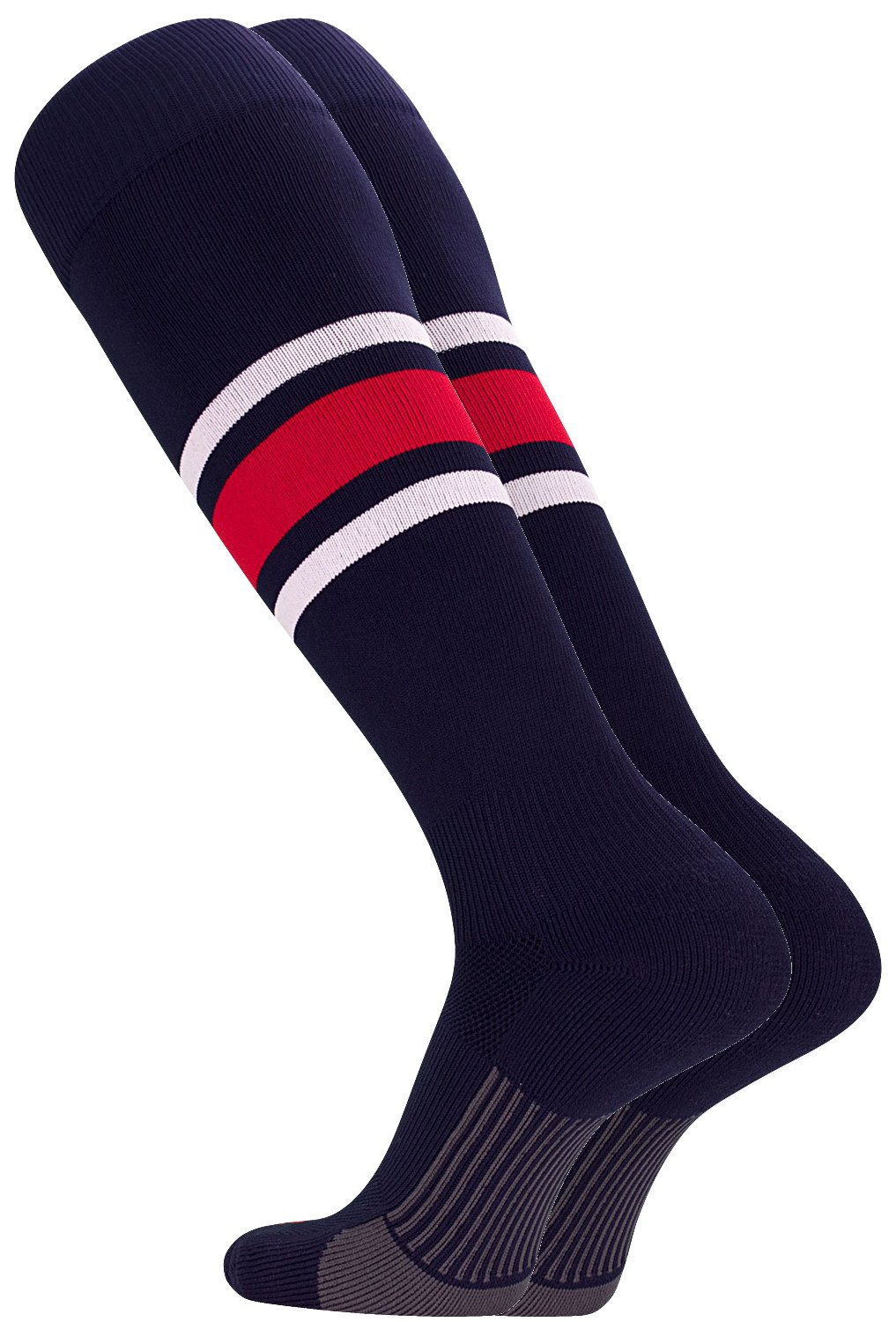 TCK Performance Baseball/Softball Socks (Navy/White/Scarlet, Large)