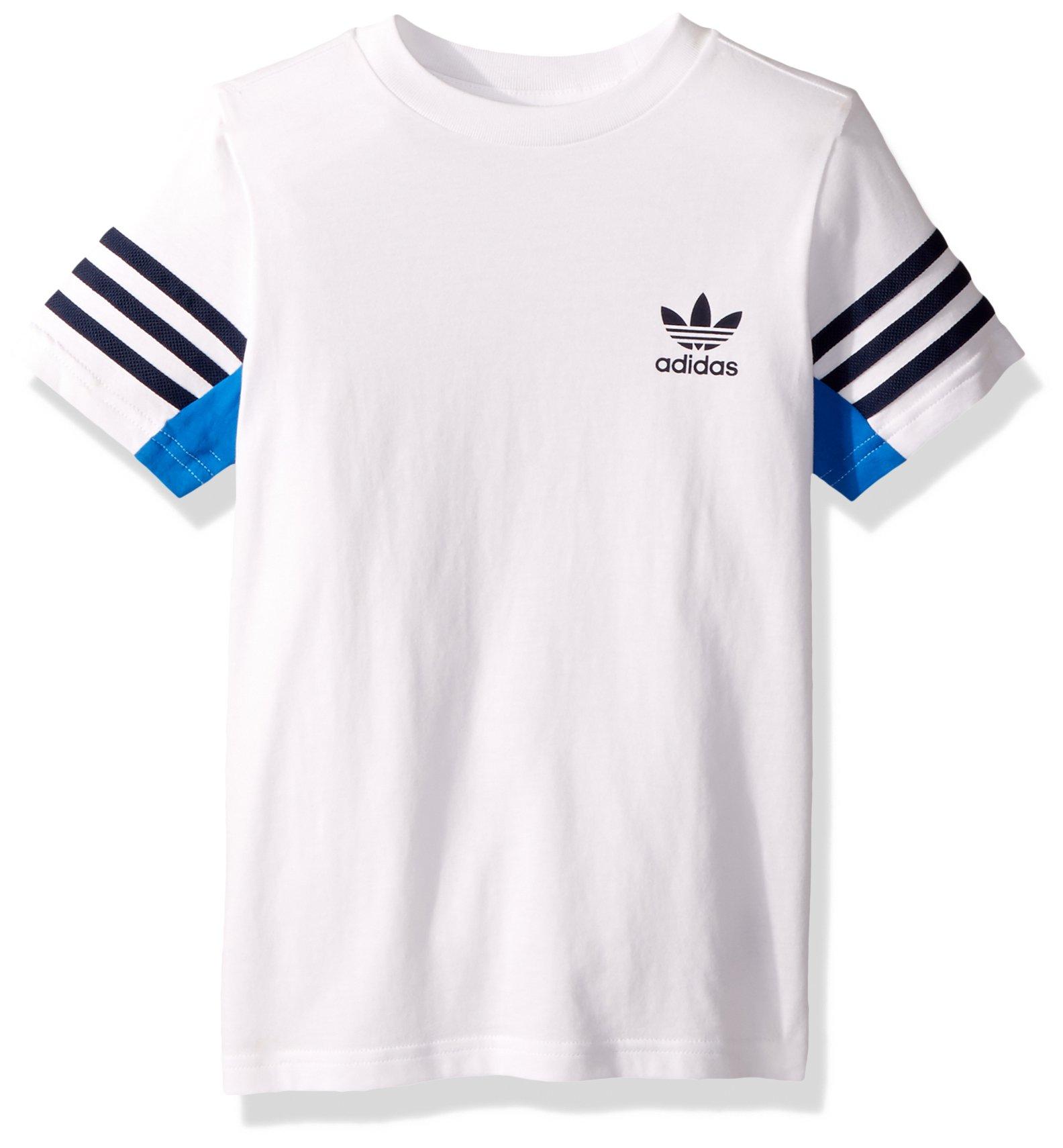 adidas Originals Big Boys' Authentics Tee, White/Blue Bird/Collegiate Navy, M