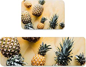 Livencher Kitchen Rug Sets 2 Piece Rugs Runner Non-Slip Washable Home Carpet Tropical Pineapple Summer Fruits Farmhouse Floor Mats Door Mats Standing Mat for Floor Decor, 15.7x23.6in+15.7x47.2in