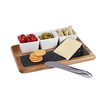 Käsebrett aus Schiefer mit 4-teiligem Messerset Schneidebrett