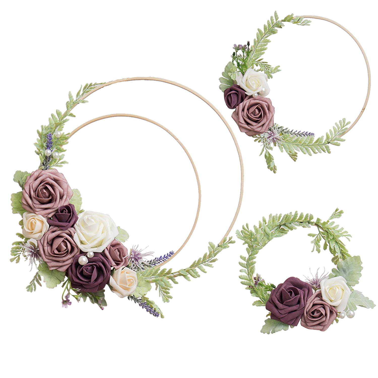 Ling's moment Floral Hoop Wreaths Set of 3 Dusty Rose Flower Wreaths for Wedding Backdrop Nursery Decor