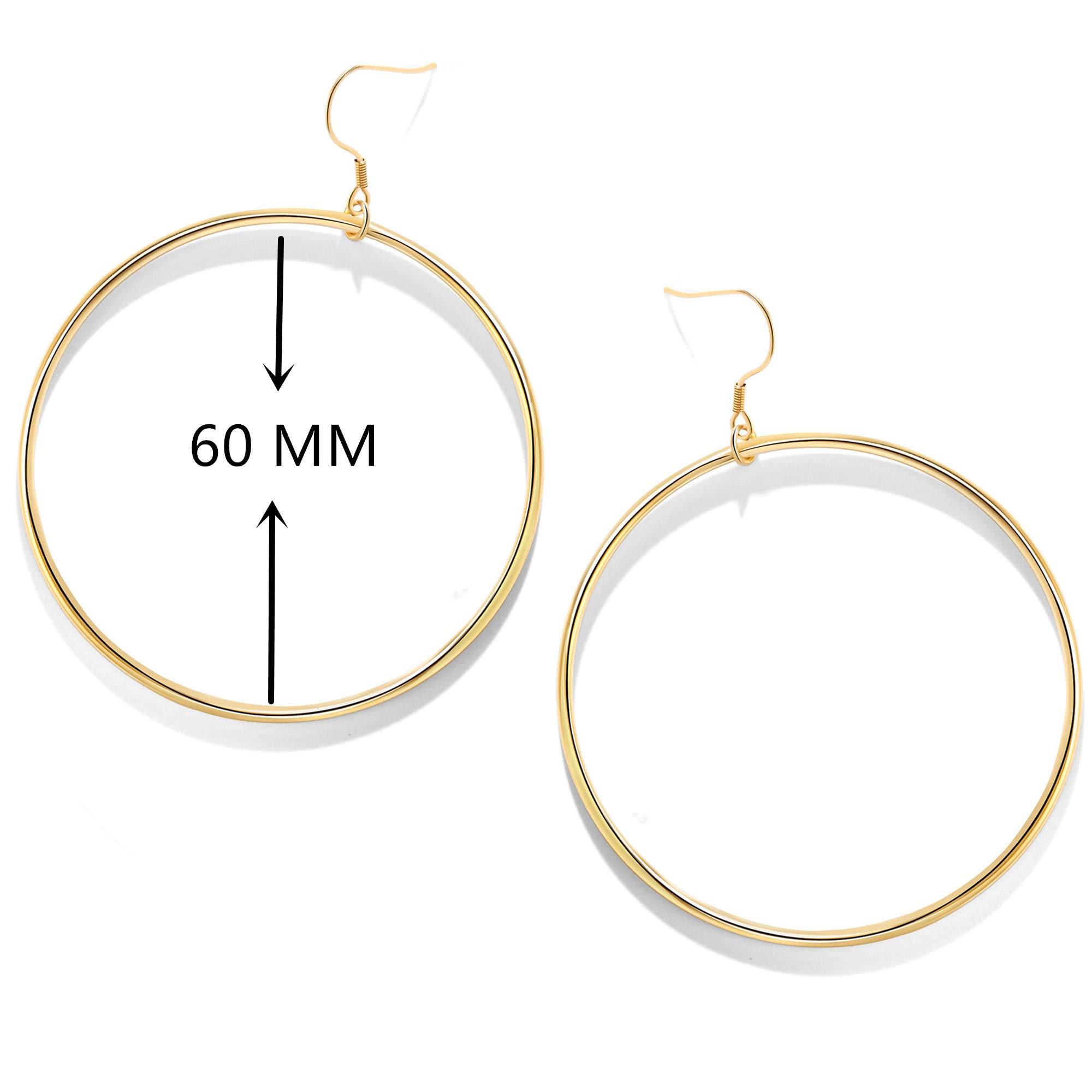 Mocalady Jewelers Womens Hoop Earrings 18 K Gold Stainless Steel Jewelry Ear Loop 60 MM