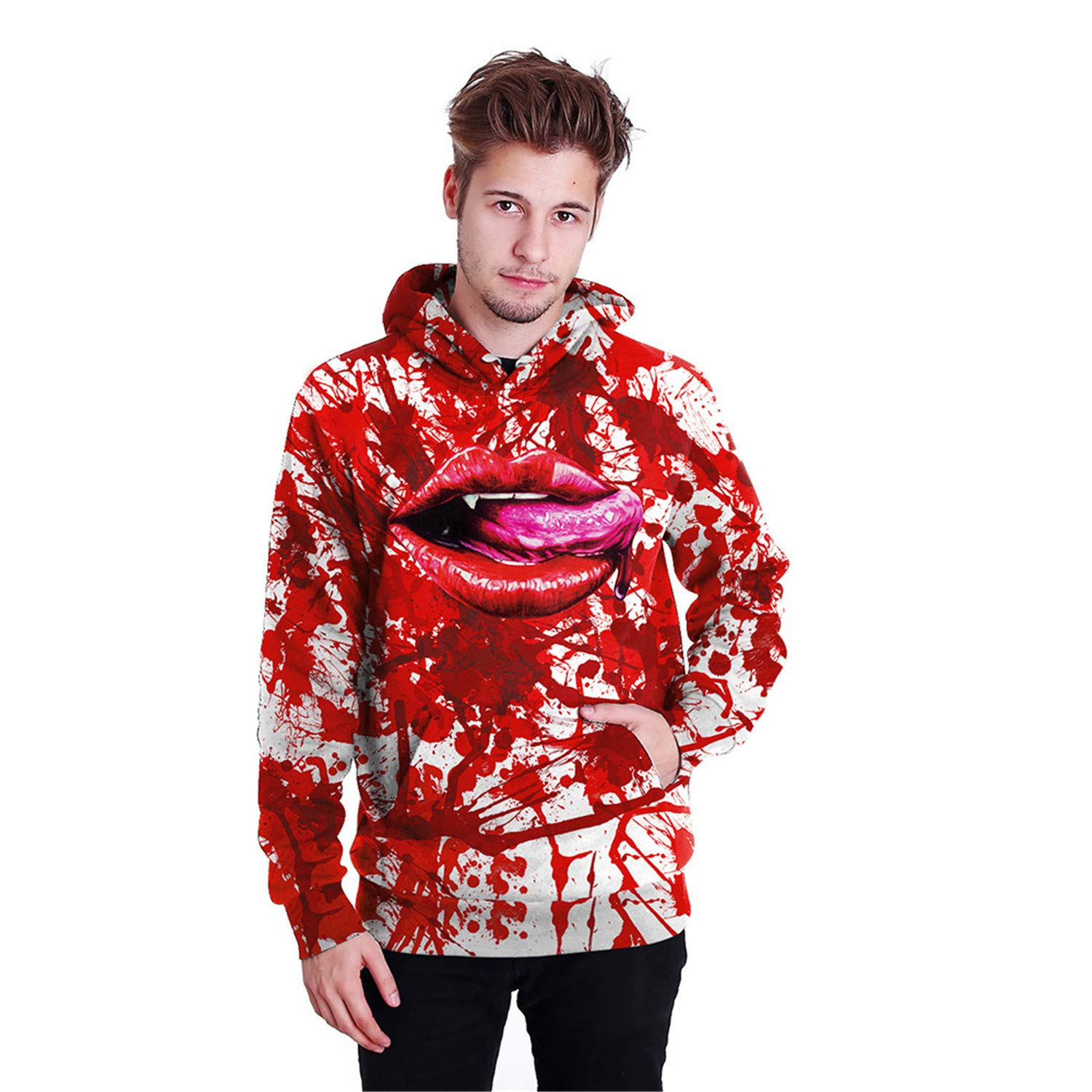 Mrsrui Unisex 3D Digital Printed Hoodies for Men Women Teen Red by Mrsrui