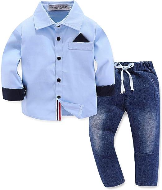 PUJIANGxian BoyVarious Juego Hermoso Camisa De Manga Larga Traje De Pantalones Vaqueros De Marea Hankie (Color : 18126, Size : 100cm): Amazon.es: Hogar