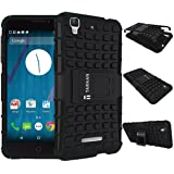 TARKAN Hard Armor Hybrid Rubber Bumper Flip Stand Rugged Back Case Cover For Micromax YU Yureka / Yureka Plus