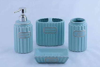 Homevibes Accesorios De Baño De Ceramica Completo, Set De Baño, 4 Piezas, Porta