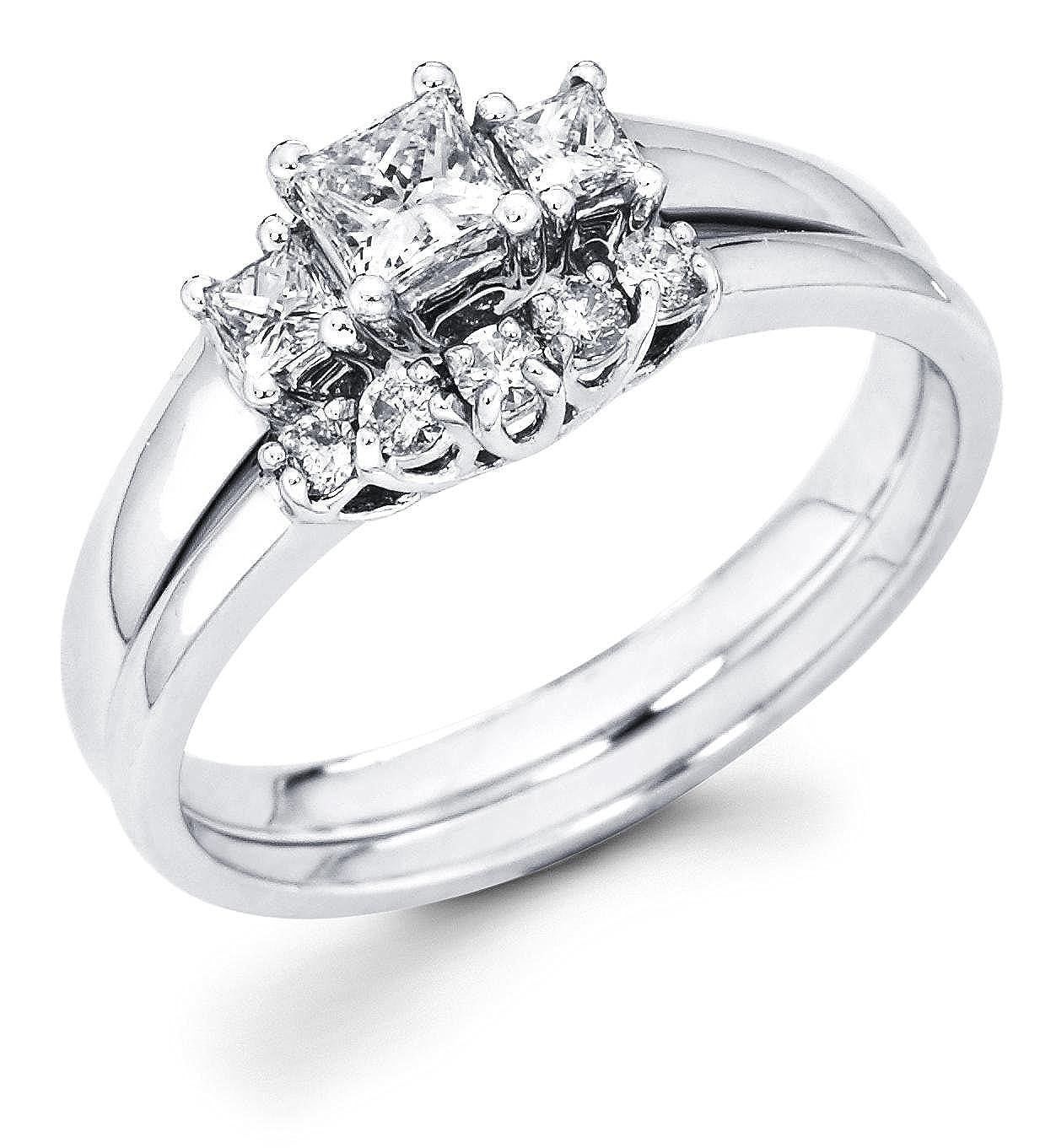 18d281319 14k White Gold Three 3 Stone Princess Cut Diamond Engagement Anniversary 2 Ring  Set w/Matching 5 Round Diamond Wedding Band (1/2 cttw, G-H Color, ...