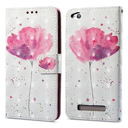 Funluna 3D Carcasa Xiaomi Redmi 4A en Cuero con Cartera, Flor