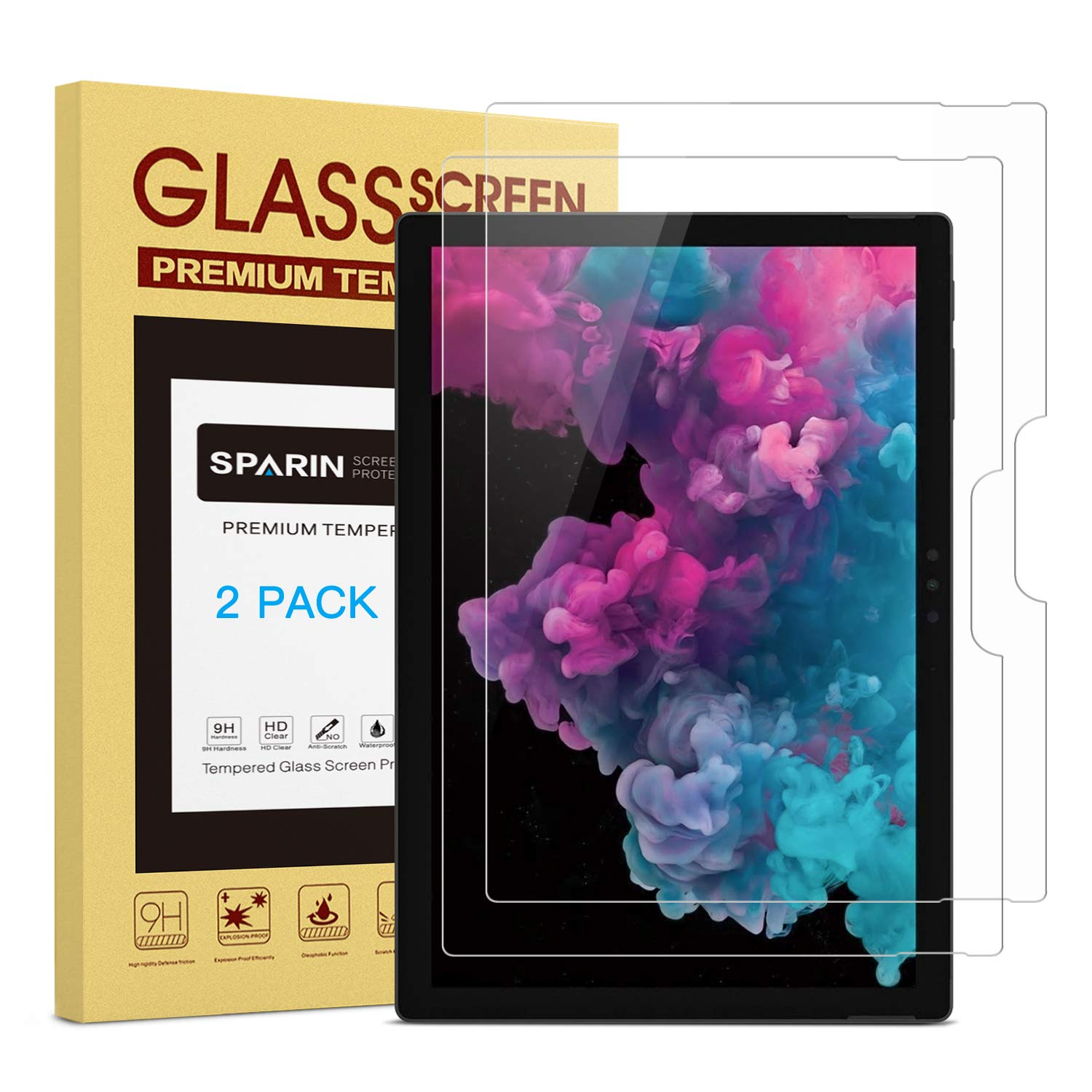 [2 Pack] Screen Protector for Surface Pro 6 / Surface Pro (5th Gen) / Surface Pro 4, SPARIN Tempered Glass Screen Protector with Surface Pen Compatible/Scratch Resistant