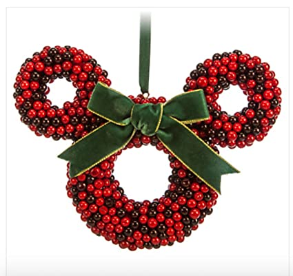 disney parks minnie mouse icon faux cranberry wreath christmas ornament holiday