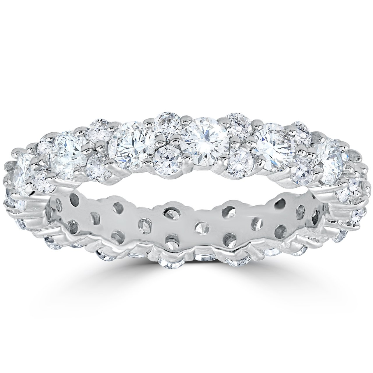 1 7/8 cttw Diamond Eternity Wedding Ring Stackable Band 14k White Gold