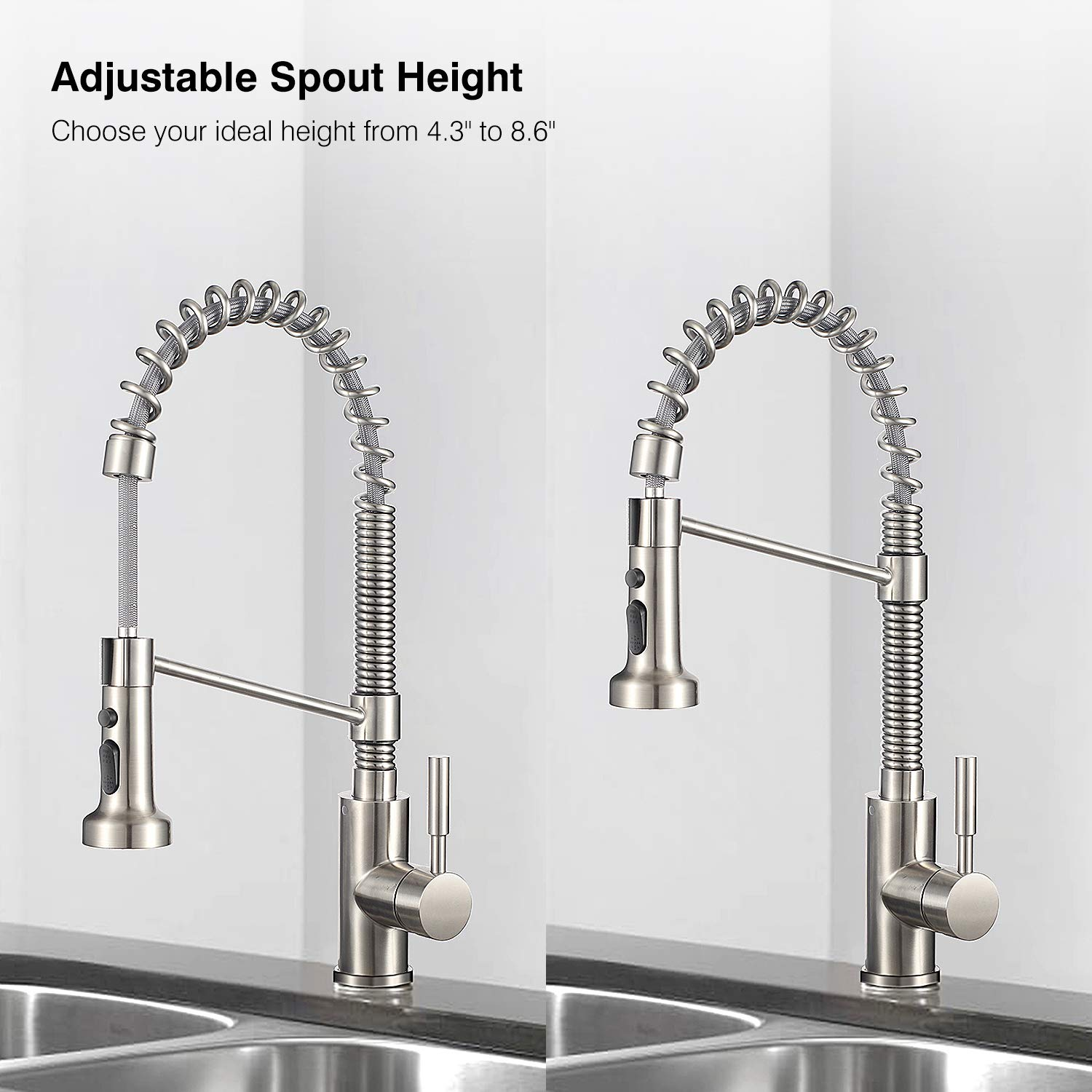 IMLEZON Stainless Steel Kitchen Faucet with Pull Out Spray Head, Single Handle Pull Down Commercial Kitchen Faucet Brushed Finished with Triple Function (18 inch) by IMLEZON (Image #4)