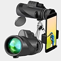 MTFY 40x60 High Power Monocular Telescope Waterproof Scope with Quick Smartphone Adapter and Tripod for Bird-Watching,Wildlife,Travel,Concert,Sports