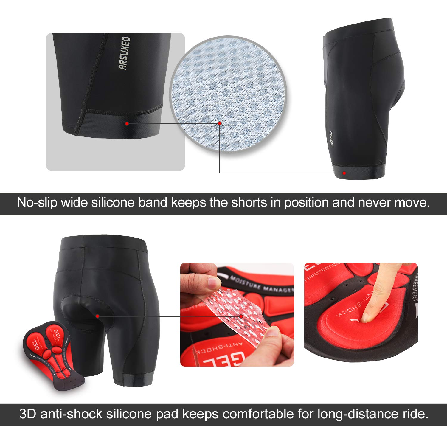 ARSUXEO Mens 3D Padded Cycling Shorts MTB Bike Bicycle Compression Shorts 563
