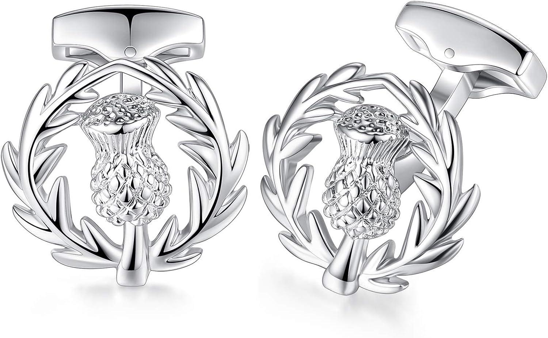 HONEY BEAR Scortland Thistle Flower Cufflinks for Mens Wedding Gift Silver