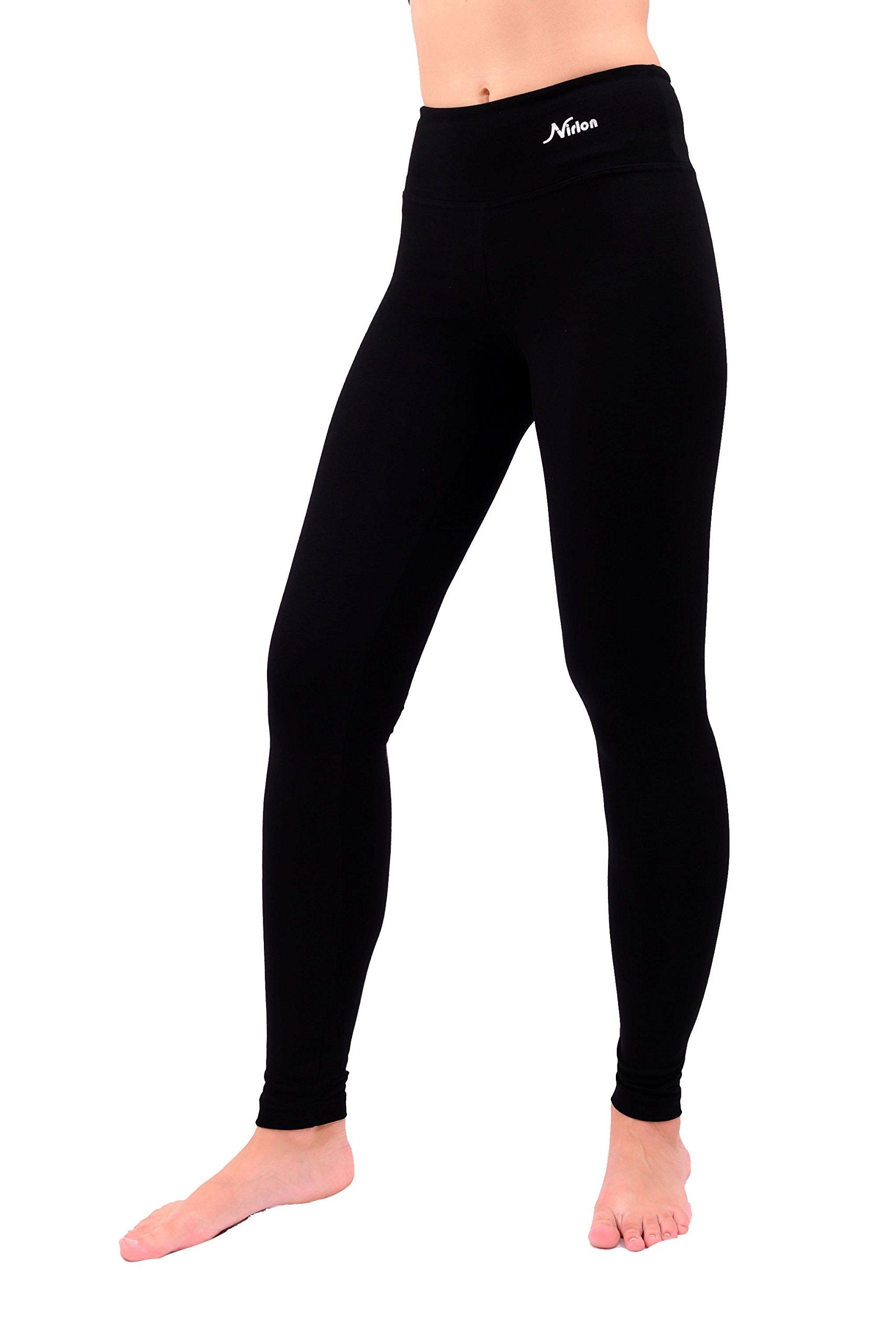Nirlon Yoga Pants For Women Best Black Leggings 28'' Inseam Length Regular & Plus Size (XL, Black)