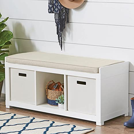 Astounding The Better Homes And Gardens 3 Cube Storage Bench White White Pabps2019 Chair Design Images Pabps2019Com