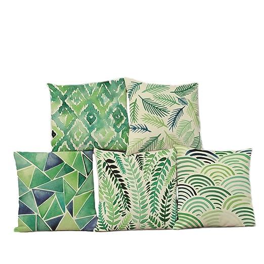 Zeafin - Funda de cojín para sofá, 5 unidades, algodón, lino ...