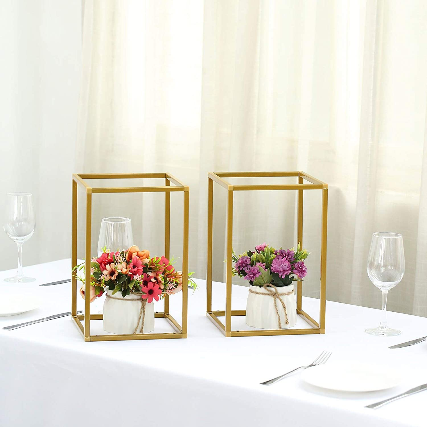 Metal Flower Vase Column Stand Wedding Party Art Geometric Flower Rack Prop Gold