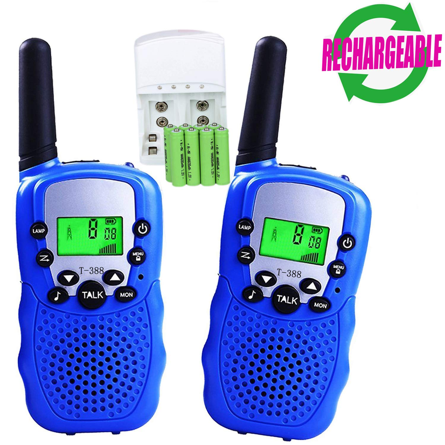 Walkie Talkies for Kids, 22 Channel 3 Mile Long Range Rechargeable FRS Two Way Radio Toys with Flashlight and LCD Screen for Boys&Girls.(Pack of 2, 8pcs Rechargeable Batteries , a Charger Included) by ZWTOPWZ (Image #1)