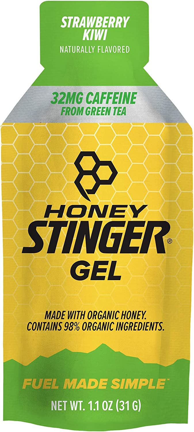 Honey Stinger Classic Energy Gel, Strawberry Kiwi, Caffeinated, Sports Nutrition, 1.1 Ounce (Pack of 24)