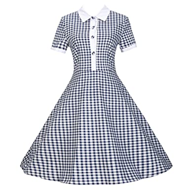 Tecrio Retro 50s 60s POLO Collar or High Neck Rockabilly Casual Party Plaid  Dress S Navy 525425e01