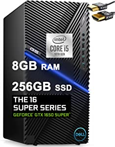 Dell 2021 Flagship G5 5090 Gaming Desktop Computer 10th Gen Intel Hexa-Core i5-10400F (Beats i7-8700T) 8GB RAM 256GB SSD NVIDIA GeForce GTX 1650 Super 4GB USB-C WiFi Win10 Black + iCarp HDMI Cable