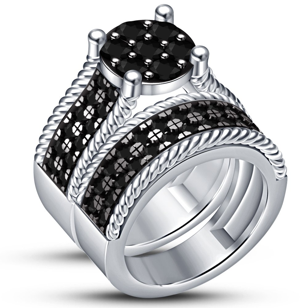 TVS-JEWELS White Platinum Plated 925 Sterling Silver Excellent Black CZ Studded Wedding Ring Set (11.25)