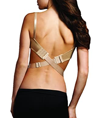 Maidenform Women's Wide Low Back Converter 1 inch 25mm Bra Extenders, Beige  (Nude)