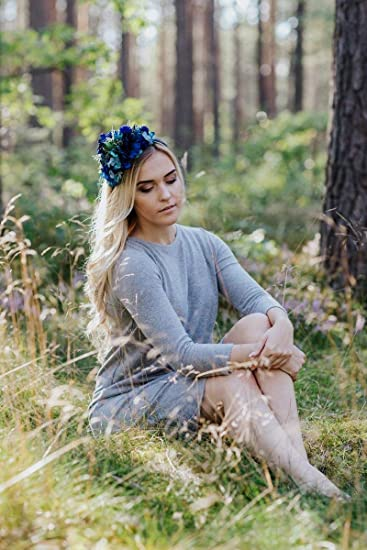 Amazon.com   Blue succulent flower headband 056ee70b648