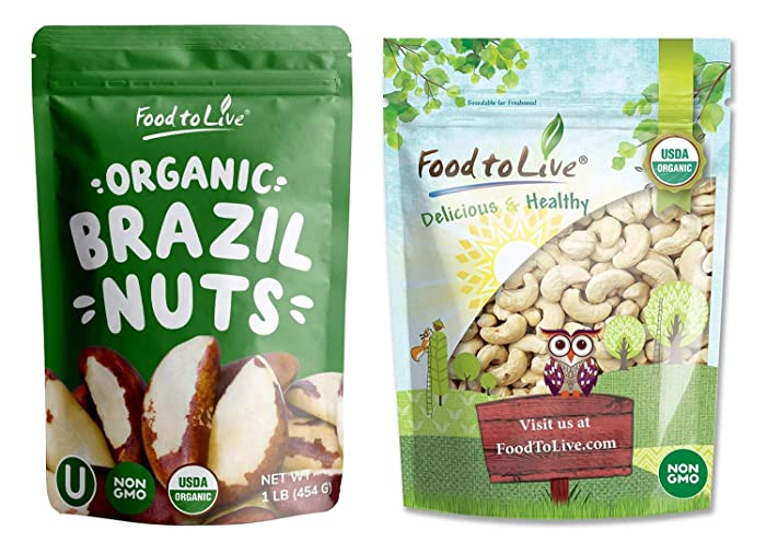 Organic Brazil and Cashew Nuts Bundle- Organic Brazil Nuts, 1 Pound and Organic Cashew, Size W-240, 1 Pound - Non-GMO, Kosher, Raw, Vegan