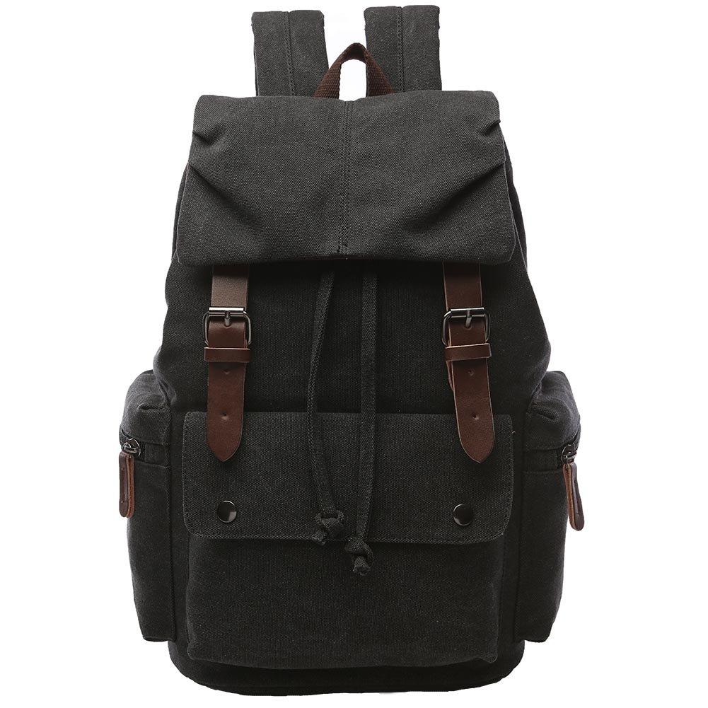 Canvas Backpack for Men, Yousu Travel Duffel Backpack Casual Vintage Rucksack College Bookbags Knapsack (Black) by Yousu