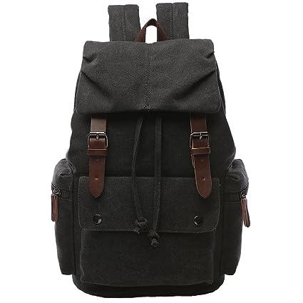 bf18c3fea9e2 Canvas Backpack for Men, Yousu Travel Duffel Backpack Casual Vintage  Rucksack College Bookbags Knapsack (Black)
