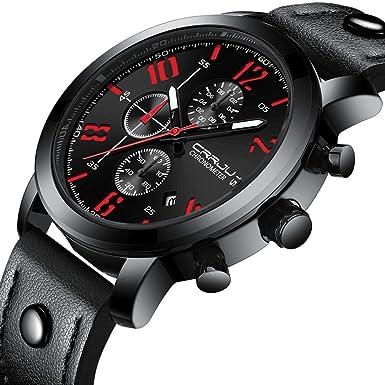 Rcool Relojes suizos relojes de lujo Relojes de pulsera Relojes para mujer Relojes para hombre Relojes deportivos,Correa de cuero de reloj de cronógrafo de ...