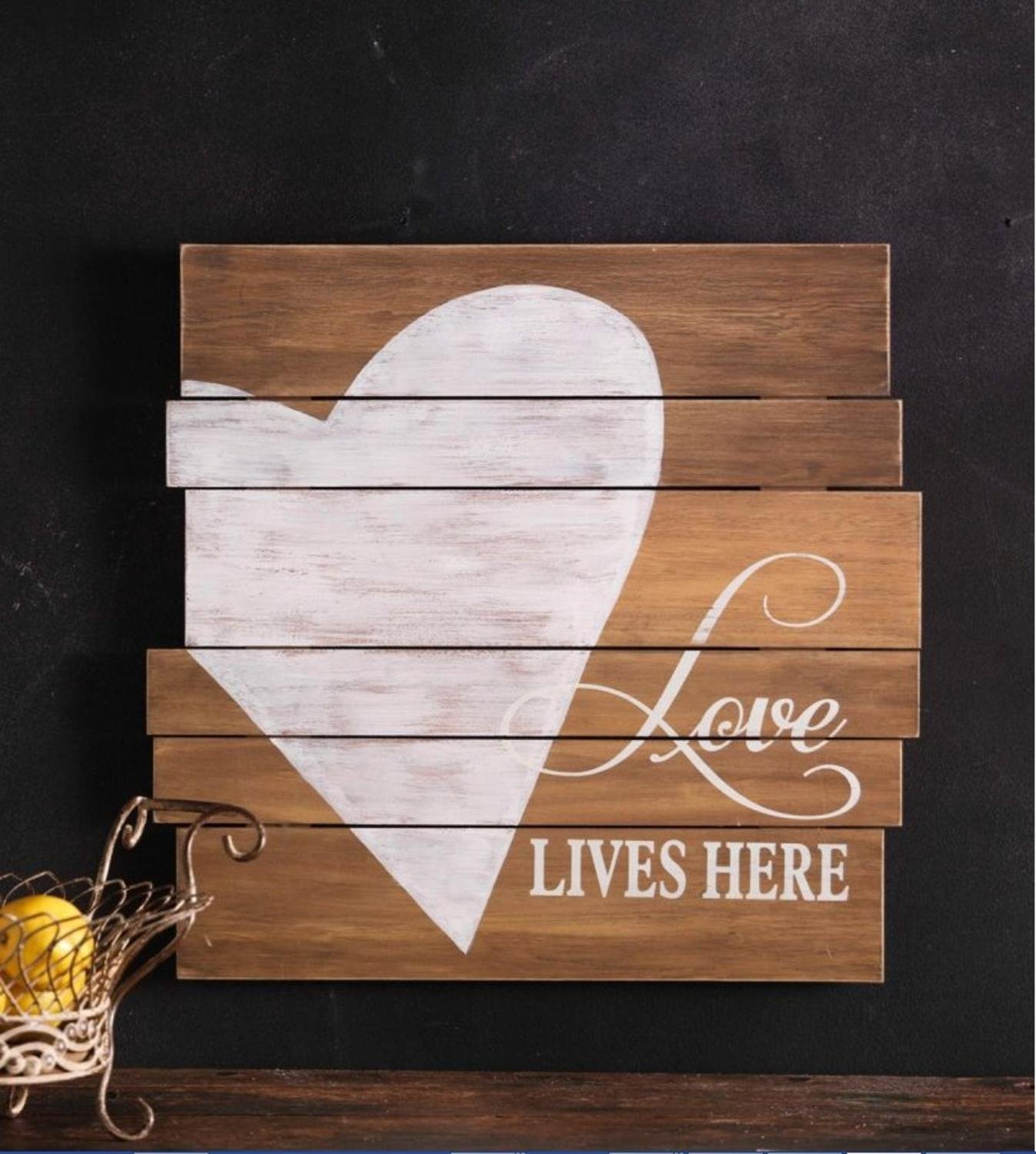 Pack of 2 Decorative Wood Rustic Heart Plaque