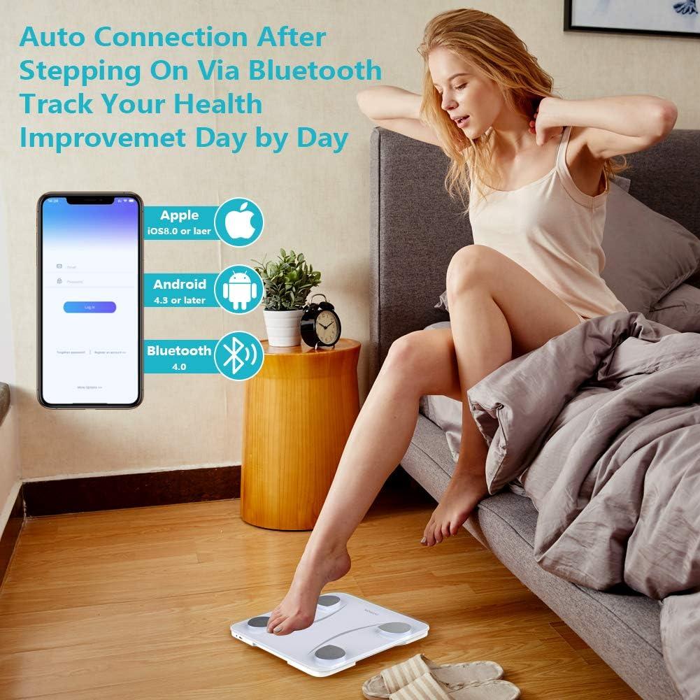 Himox Bilancia Pesa Persona Digitale Bluetooth 23 Funzioni Analisi Composizione Corporea per 999 utenti Ricarica USB Bilance pesapersona digitali Intelligente Massimo 400 libbre//180 kg