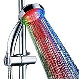SunJas LED Duschkopf Wellnessbrause Handbrause Brausekopf Bunt Multicolor Mehrfarbig mit Licht Farbwechsel 7 Farbe automatic